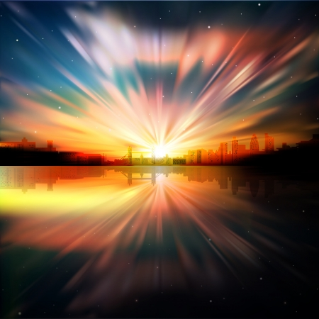 horizon reflection: abstract nature background with sunrise stars and silhouette of London