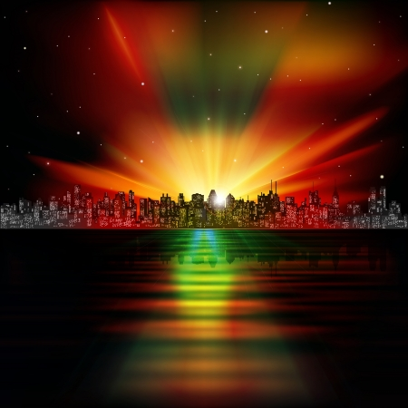 abstract night background with silhouette of city and sunrise Vector