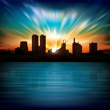 sky line: nature background with sunrise and silhouette of city Illustration