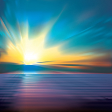 horizon over water: abstract blue background with clouds and ocean sunrise