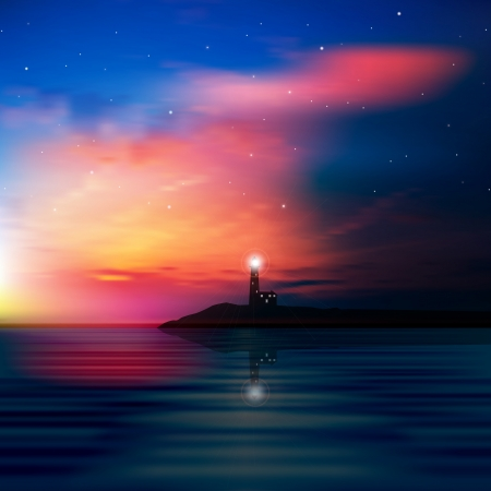 lighthouse at night: abstract sea background with lighthouse and sunrise Illustration