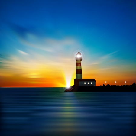 coastlines: abstract blue background with sunrise and lighthouse Illustration
