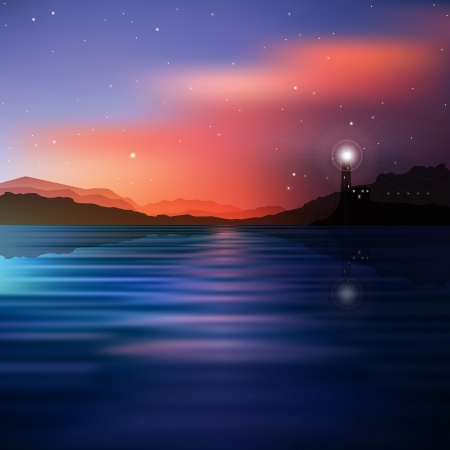 beacons: abstract mountains background with lighthouse and stars