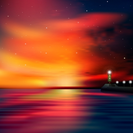 abstract sea background with red sunrise and lighthouse