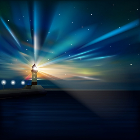 nova: abstract sea background with sunrise and lighthouse Illustration