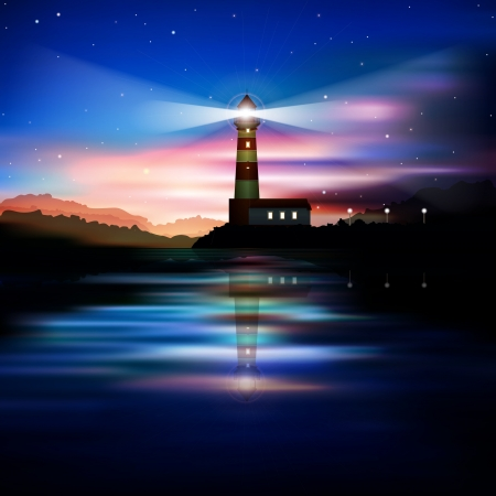 abstract blue background with lighthouse mountains and sunrise Vector