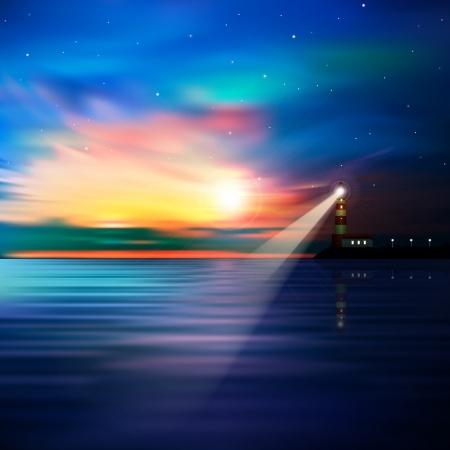 příroda: abstraktní modré pozadí s majákem hvězdami a východem slunce