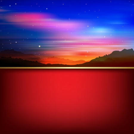 abstract nature illustration with sunrise in mountains and red background Vector