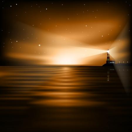 灯台と海の日の出と抽象的な茶色の背景