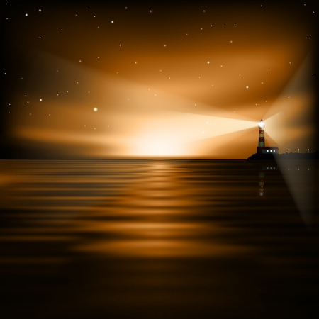 abstract brown background with lighthouse and sea sunrise Vector
