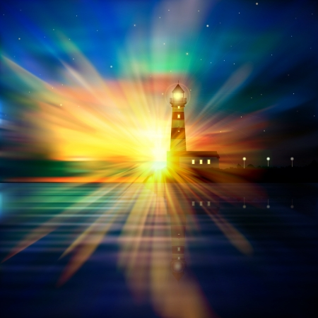 atlantic ocean: abstract nature background with lighthouse stars and sunrise