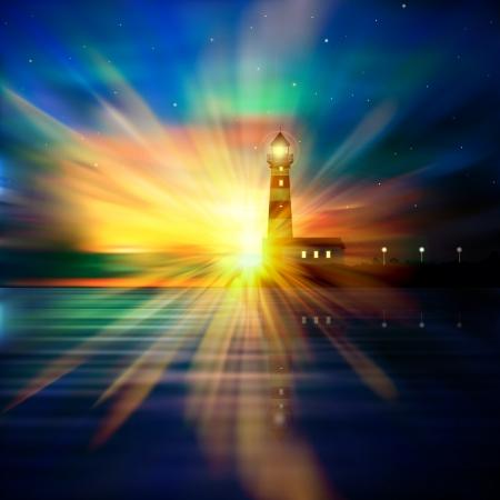 abstracte aard achtergrond met vuurtoren sterren en zonsopgang Stock Illustratie