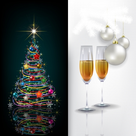 champagne celebration: Abstract green white celebration greeting with Christmas tree and champagne Illustration