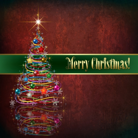Celebration greeting with Christmas tree on red grunge background Vector