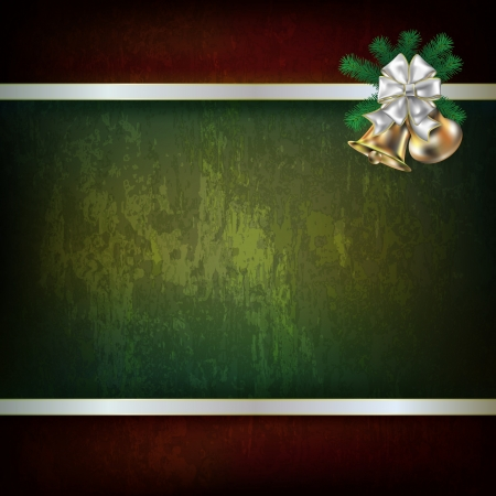 Abstract grunge green background with Christmas bells and white ribbon Vector