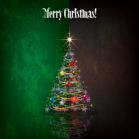 Abstract celebration grunge green black greeting with Christmas tree Çizim
