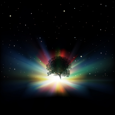 morning sunrise: abstract background with silhouette of tree sunrise and stars Illustration