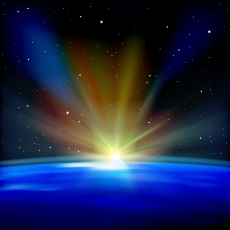 abstract space background with earth and sunrise Vector