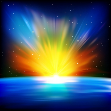 abstract space background with sunrise and stars