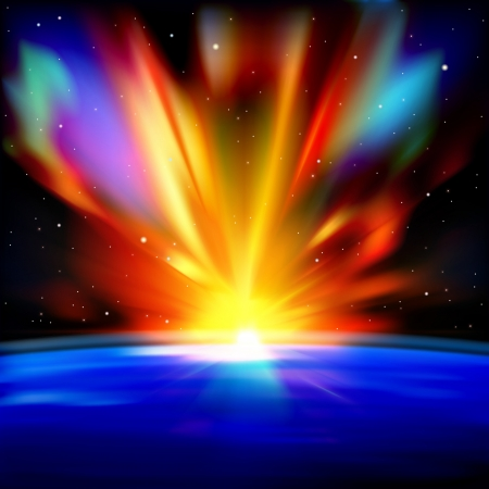 abstract space background with earth sunrise and stars Vector