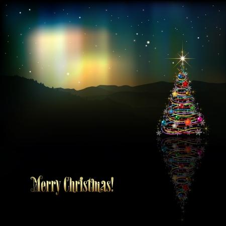 borealis: abstract background with Christmas tree and aurora borealis Illustration