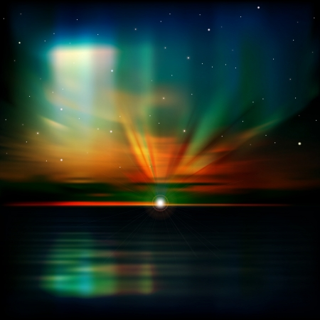 borealis: abstract blue nature background with clouds aurora borealis and sea sunrise