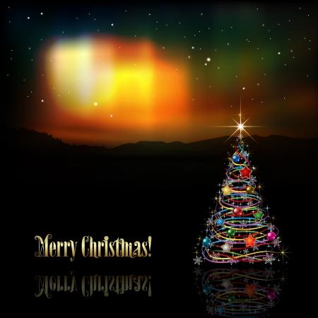 aurora borealis: abstract celebration background with Christmas tree and aurora borealis
