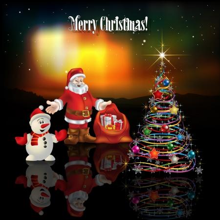 borealis: abstract celebration greeting with Santa Claus Christmas tree and aurora borealis