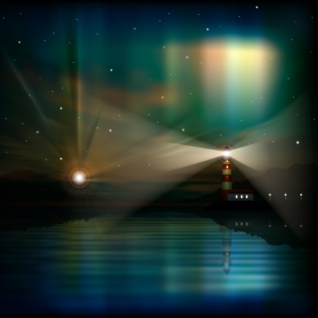 aurora borealis: abstract sea background with lighthouse and aurora borealis