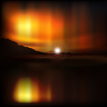 borealis: abstract sea background with mountains and aurora borealis