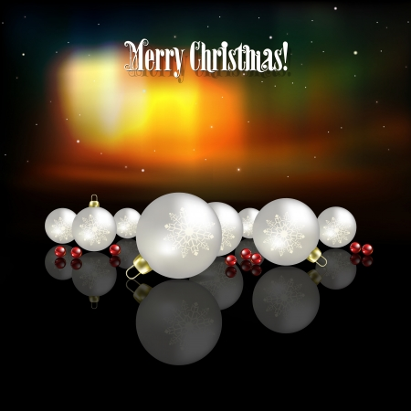 aurora: Abstract celebration background with white Christmas decorations and aurora borealis
