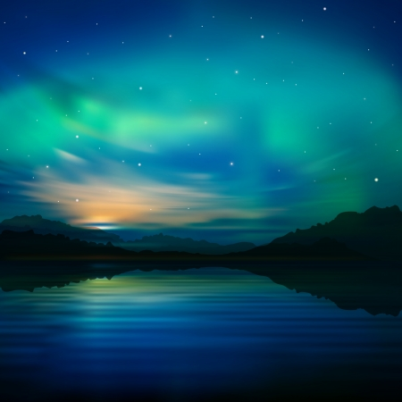 sunrise sky: abstract nature background with aurora borealis and  mountains