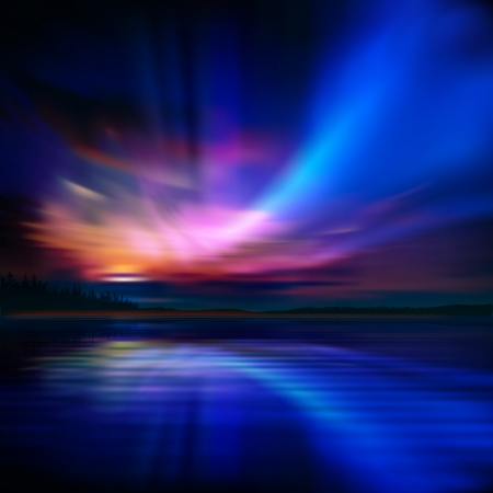 aurora: abstract nature background with aurora borealis and forest