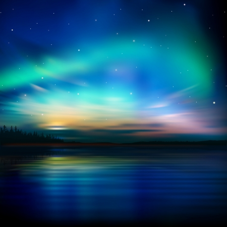 abstract nature background with forest and aurora borealis