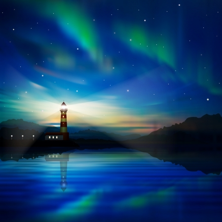 lighthouse at night: abstract nature background with lighthouse and aurora borealis