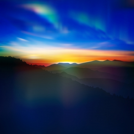 abstract nature background with mountains and aurora borealis