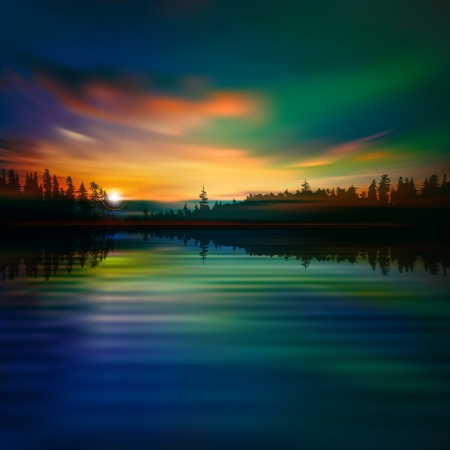 borealis: abstract nature background with forest lake and sunrise