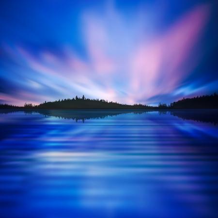 Abstrakten Natur-Hintergrund mit Aurora borealis und dunklen Wald Standard-Bild - 23547258