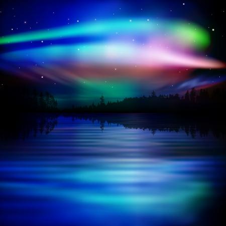 aurora borealis: abstract nature background with forest lake and aurora borealis Illustration