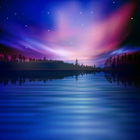 abstract nature background with forest lake and sky