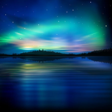 abstract nature background with sea forest and aurora borealis