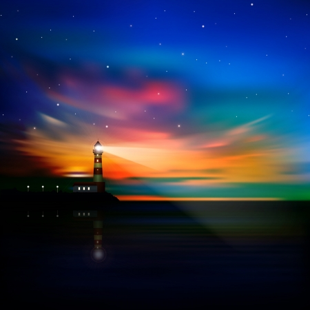 abstract ocean background with sunrise lighthouse and stars