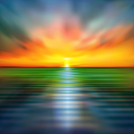 abstract spring nature background with sea sunrise Vetores