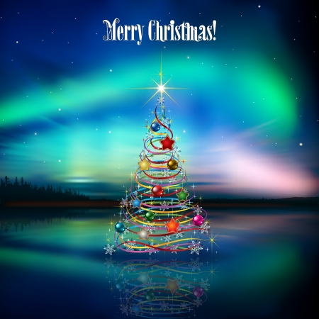 borealis: abstract celebration background with Christmas tree and aurora borealis