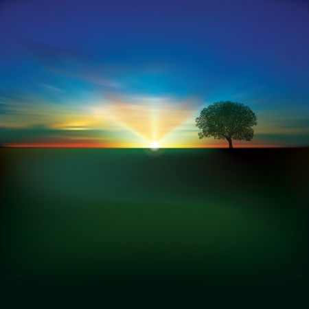 sunlight earth: abstract green background with clouds tree and sunrise Illustration