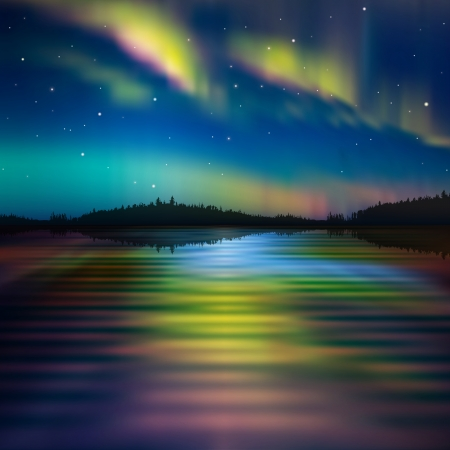 aurora borealis: abstract nature background with aurora borealis and forest
