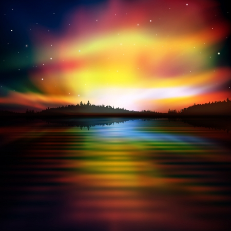 borealis: abstract nature background with red aurora borealis Illustration