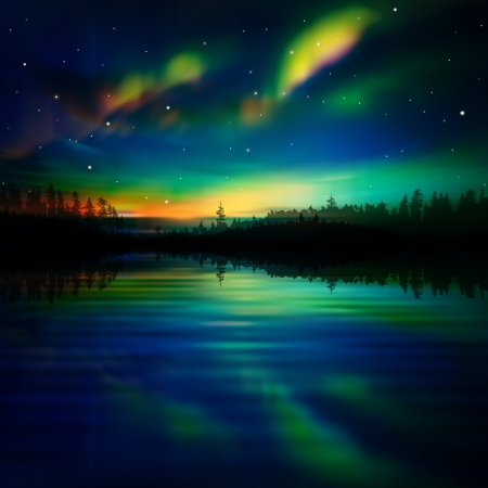 borealis: abstract night nature background with forest and aurora borealis