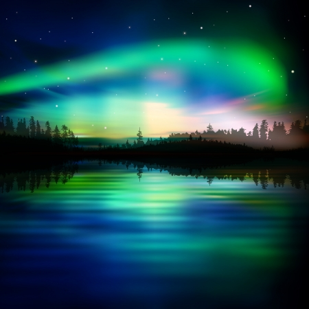 abstract night nature background with green aurora borealis Vector