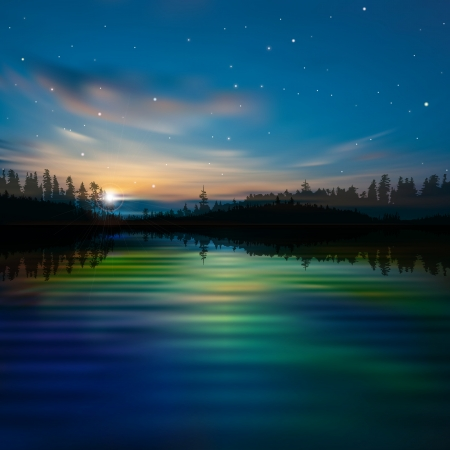 abstract night nature background with lake forest and clouds Stock Illustratie